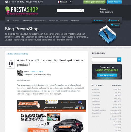 Lookvoiture dans la Success Story de Prestashop